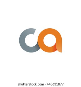 initial letter ca modern linked circle round lowercase logo orange gray