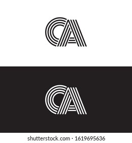 Initial letter ca uppercase modern logo design template elements. Black and white letter Isolated on white and black background. Suitable for business, consulting group company.