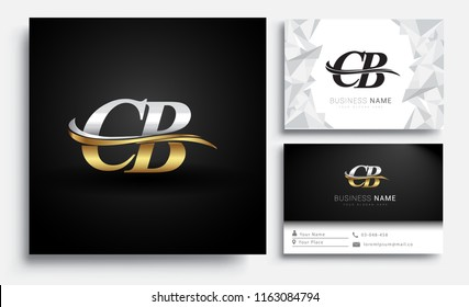 initial letter CB logotype company name colored gold and silver swoosh design. Vector sets for business identity on white background.