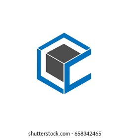 Initial letter CC 3d box design logo