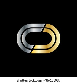 Initial Letter CC CD CO Linked Design Logo Silver Gold