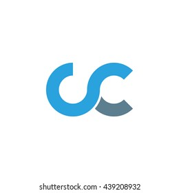 initial letter cc linked round lowercase logo blue