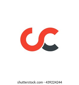 initial letter cc linked round lowercase logo red