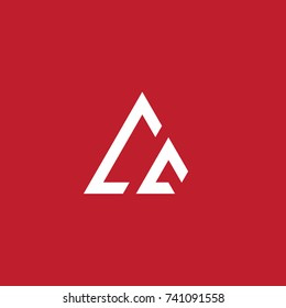 Initial Letter CC Linked Triangle Design Logo