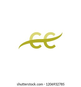 Initial letter CC, overlapping movement swoosh logo, green color on white background
