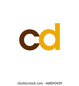 Initial letter CD brown yellow color logo