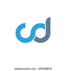 initial letter cd linked round lowercase logo blue
