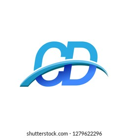 initial letter CD logotype company name colored blue and swoosh design. vector logo for business and company identity.