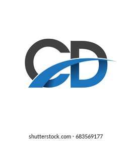 initial letter CD logotype company name colored blue and grey swoosh design. vector logo for business and company identity.