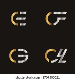 Initial Letter CE CF CG CH logo icon design template elements. Modern line logo with gold silver luxury style. Can be used for business, company group, consulting, finance. Vector Illustration.