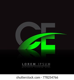 initial letter CE logotype company name colored green and black swoosh design. vector logo for business and company identity.