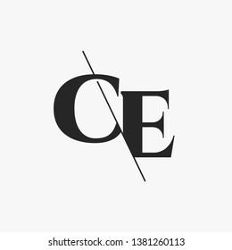 Initial Letter CE Monogram Sliced. Modern logo template isolated on black background