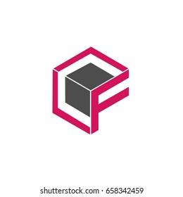 Initial letter CF 3d box design logo