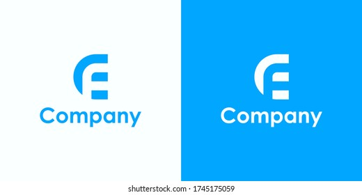 Initial Letter CF or EF Logo. Monogram Linear Rounded Style isolated on White and Blue Background. Usable for Business, Branding and Technology Logos. Flat Vector Logo Design Template Element.