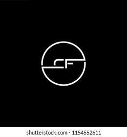 Initial letter CF FC minimalist art monogram circle shape logo, white color on black background