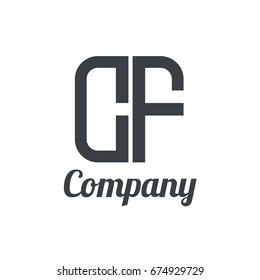 Initial Letter CF Linked Box Design Logo