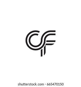 Initial letter cf, linked outline rounded lowercase, monogram black
