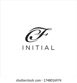 Initial Letter CF Logo Design Vector