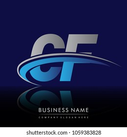 initial letter CF logotype company name colored blue and grey swoosh design. vector logo for business and company identity.