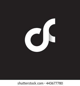 initial letter cf modern linked circle round lowercase logo white black