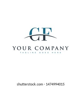 Initial letter CF, overlapping movement swoosh horizon logo company design inspiration in blue and gray color vector