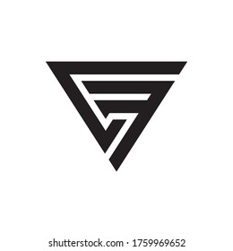 Initial letter CF triangle cool modern logo