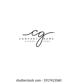 Initial letter CG calligraphy handwritten logo. Handwritten alphabet in the logo template. Letters and Alphabet for your logo design.