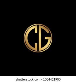 Initial letter CG, minimalist art monogram circle shape logo, gold color on black background