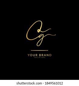 Initial letter CG. Monogram signature logo design template. Minimalis logo concept for business and company.