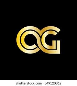 Initial Letter CG OG Linked Design Logo Gold
