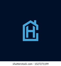 Initial letter CH HC house abstract logo icon design  minimalist monogram building property real estate symbol concept  vector