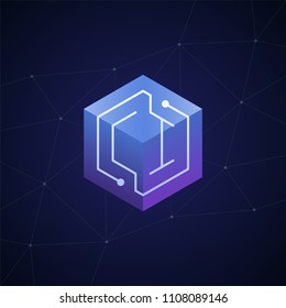Initial letter CI, block chain, looping mono line circuit letter on hexagon cube logo, blue magenta gradient color on black blue network background