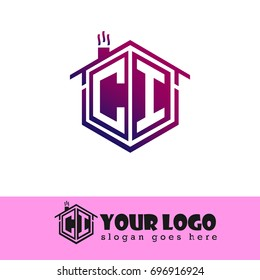 Initial Letter CI Linked Logo, House Illustration with Purple Color