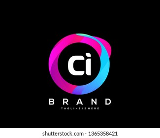 Initial letter CI logo with colorful circle background, letter combination logo design for creative industry, web, business and company. - Vector