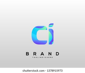 Initial letter CI logo with colorful background, letter combination logo design for creative industry, web, business and company. - Vector
