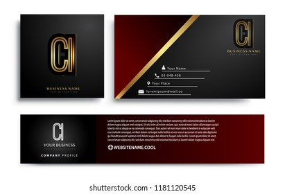 initial letter CI logotype company name colored gold elegant design. Vector sets for business identity on black background.