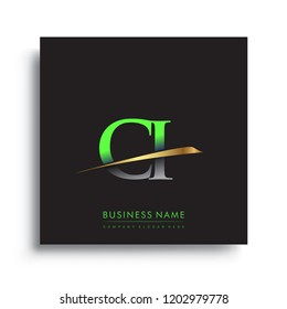 initial letter CI logotype company name colored green and gold swoosh design. vector logo for business and company