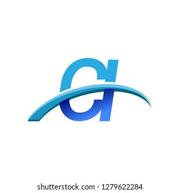 initial letter CI logotype company name colored blue and swoosh design. vector logo for business and company identity.