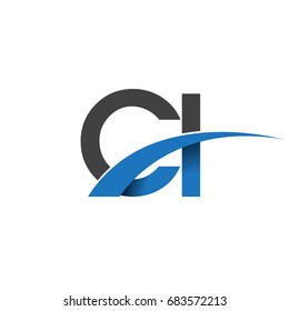 initial letter CI logotype company name colored blue and grey swoosh design. vector logo for business and company identity.