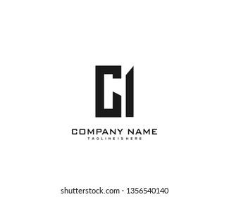 Initial letter CI minimalist art logo vector