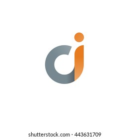 initial letter ci modern linked circle round lowercase logo orange gray