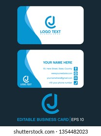 initial letter cj, jc, with business card logo template