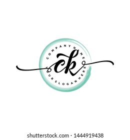 Initial letter CK beautiful handwriting logo vector template