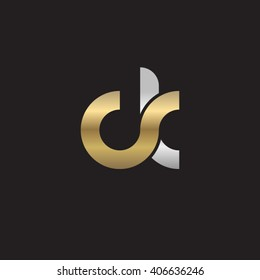 initial letter ck linked circle lowercase logo gold silver black background