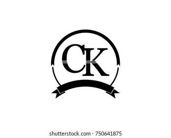 initial letter CK logo monogram retro black
