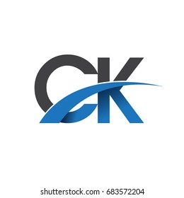 initial letter CK logotype company name colored blue and grey swoosh design. vector logo for business and company identity.