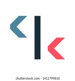 Initial letter ck minimalist typographic art monogram shape business brand identity logo, navy and pink color on white background.
