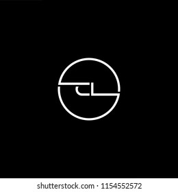 Initial letter CL LC minimalist art monogram circle shape logo, white color on black background