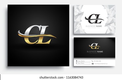 initial letter CL logotype company name colored gold and silver swoosh design. Vector sets for business identity on white background.