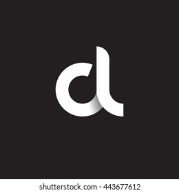 initial letter cl modern linked circle round lowercase logo white black